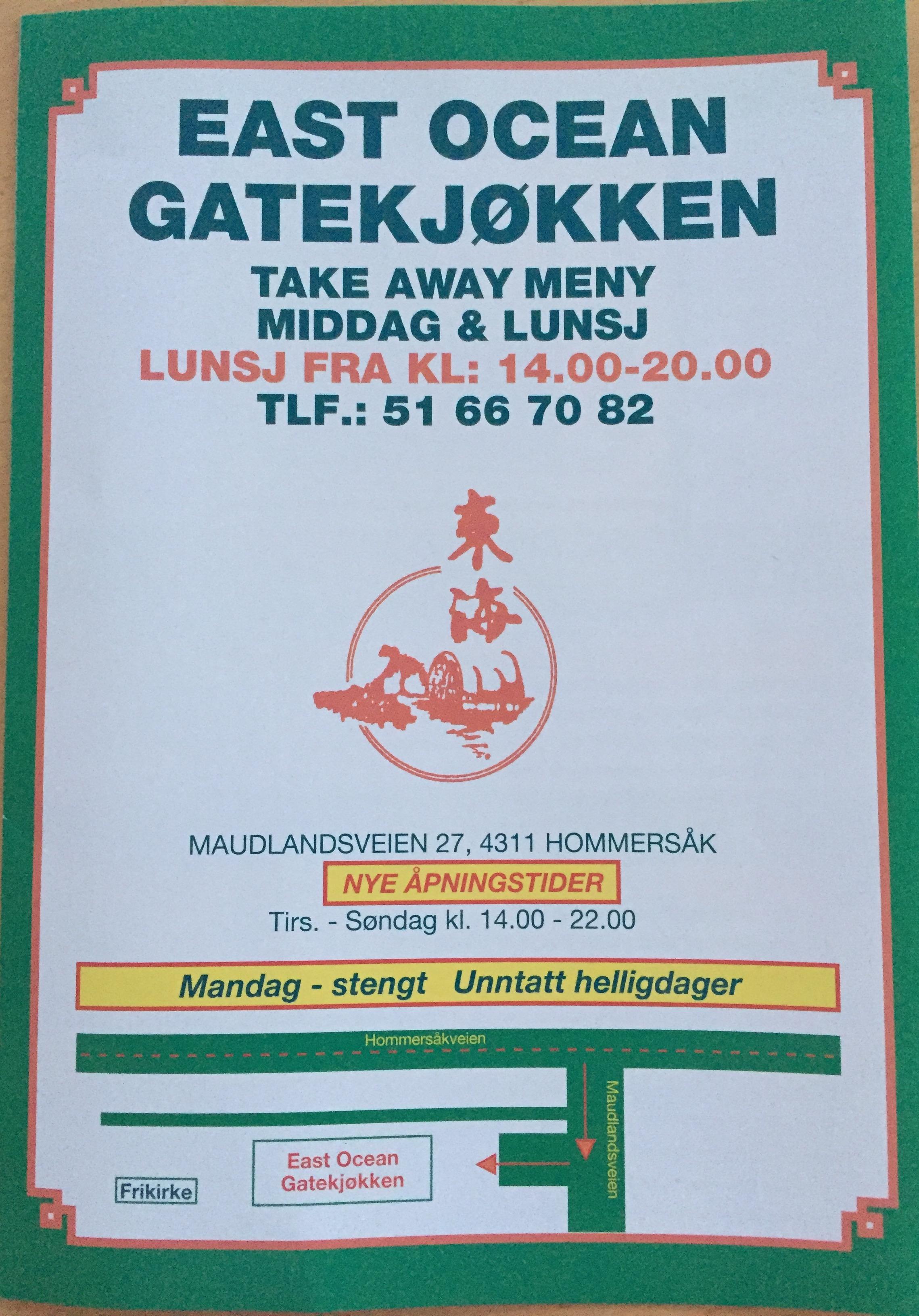East ocean gatekjøkken meny maudlandsveien 27 4311 Hommersåk 51667082