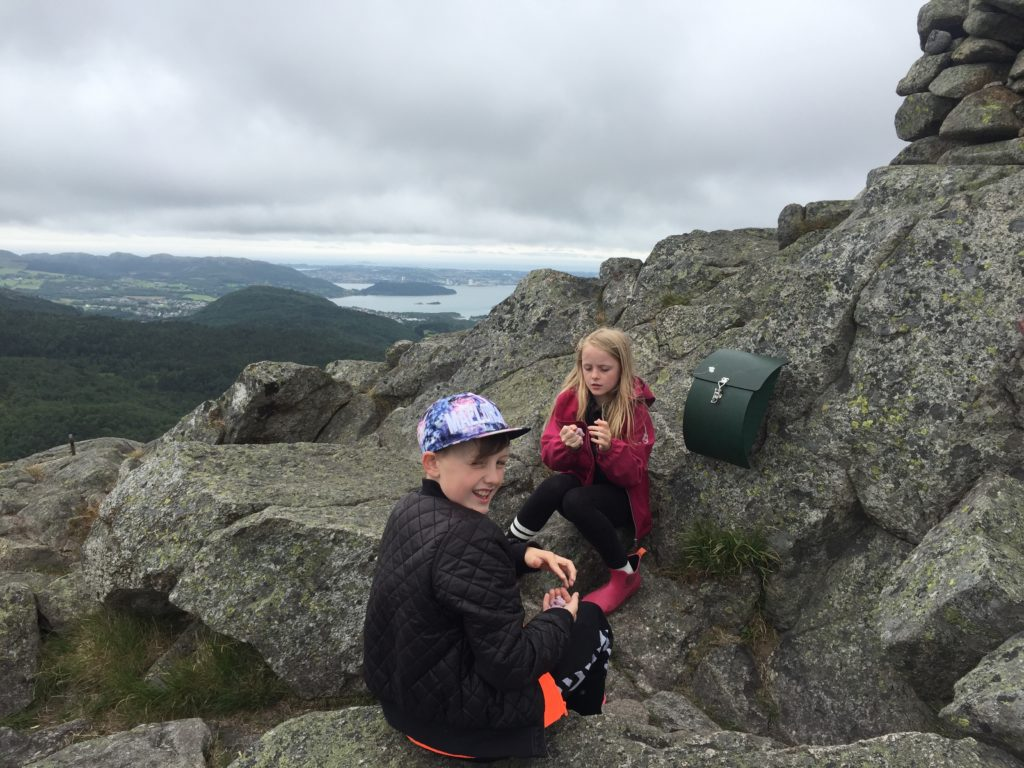 Signing protocol on summit of varlivarden in Sandnes hommersak Stavanger norway Rogaland