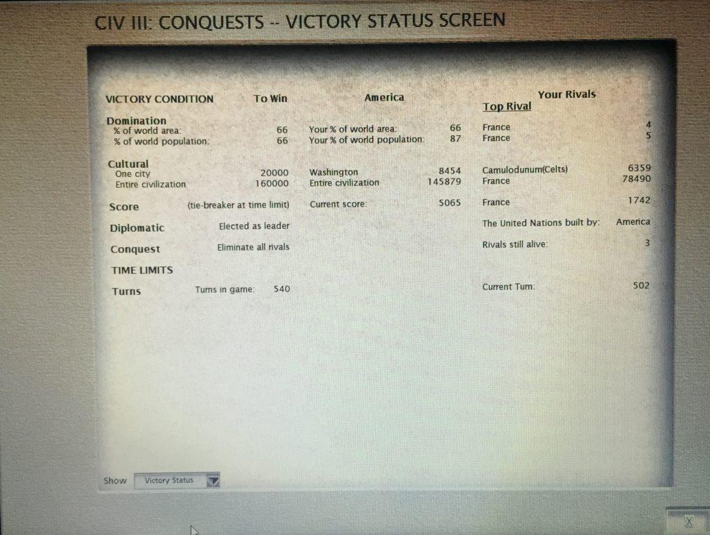 Civilization conquest victory
