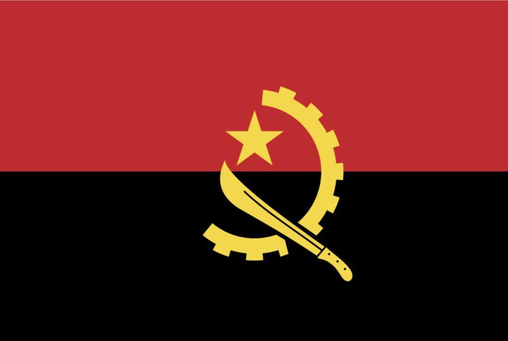 Angola sitt flagg kommunistisk sigd og hammer tannhjul machete