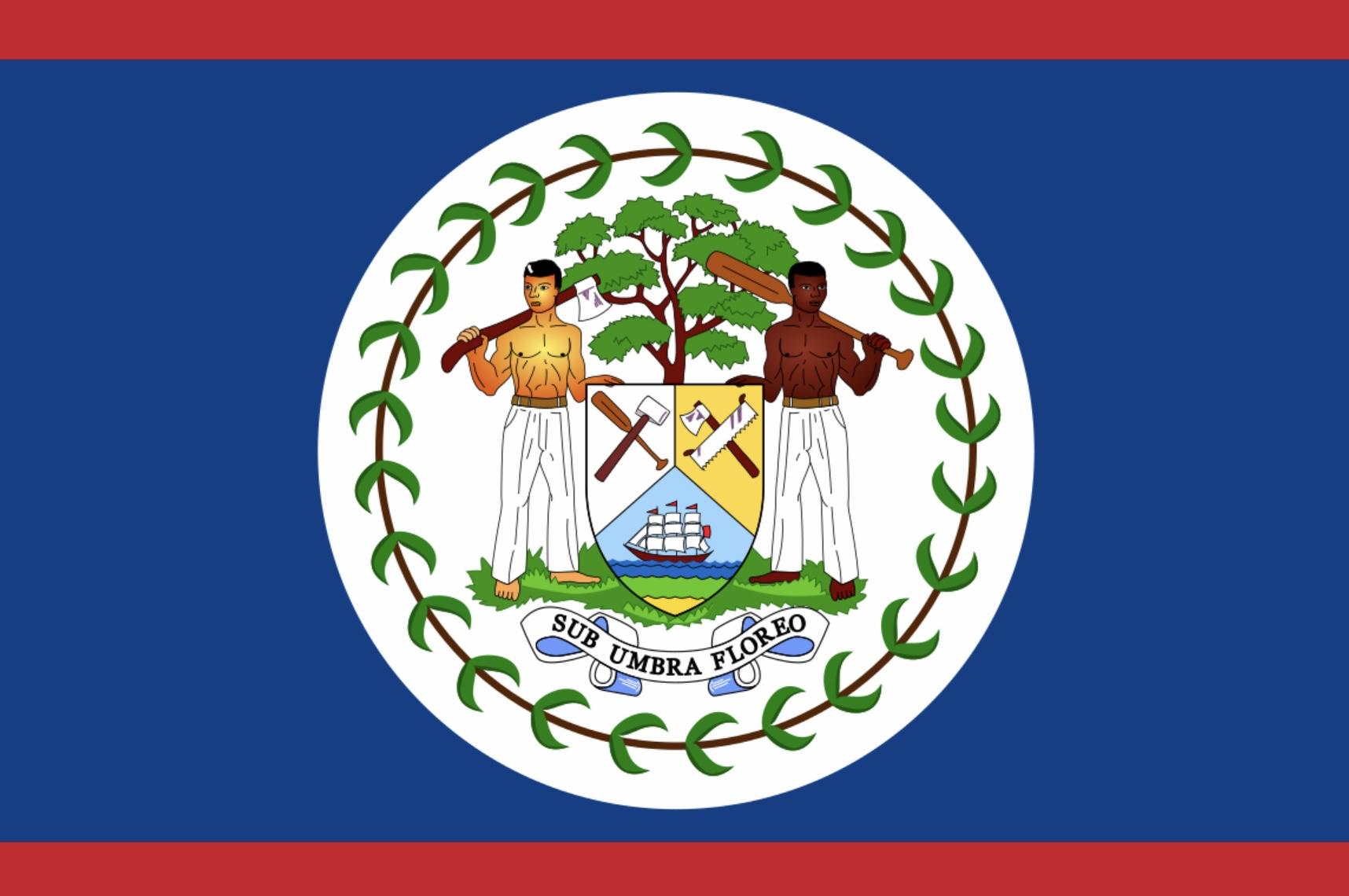Belize sitt flagg jeg trives i skyggen