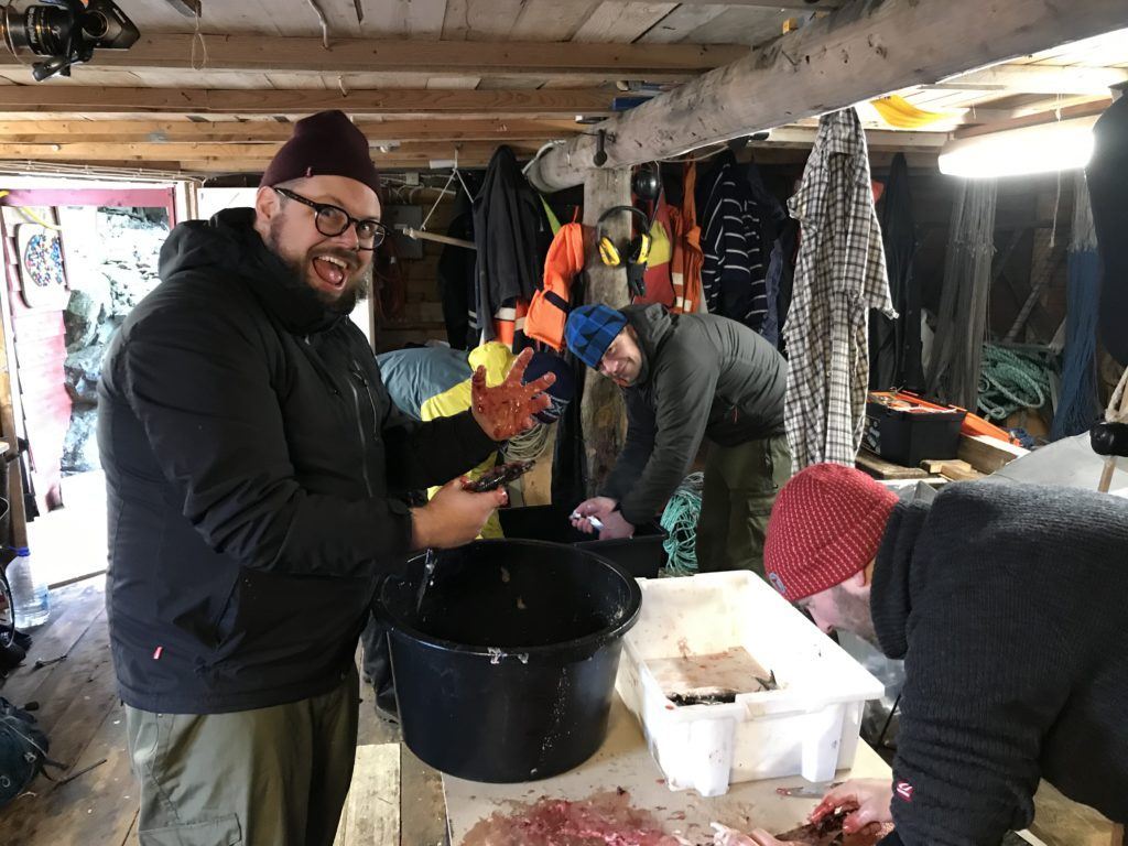 Lubbesild er blodig alvor. Robert og Sondre sløyer mens Svein Kristian vasker fisken Nubbesild kubbesild